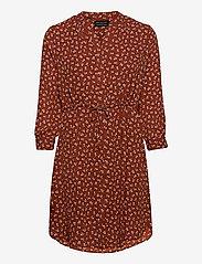 Selected Femme - SLFDAMINA 7/8 AOP DRESS - alledaagse jurken - smoked paprika - 0