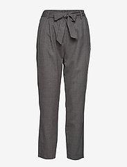 Selected Femme - SLFBIO MW CROPPED WOOL PANT B - straight leg trousers - medium grey melange - 0