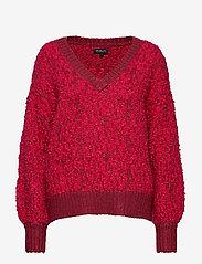 Selected Femme - SLFGABA LS KNIT V-NECK B - jumpers - beet red - 0