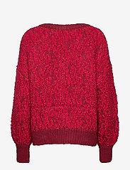 Selected Femme - SLFGABA LS KNIT V-NECK B - jumpers - beet red - 1
