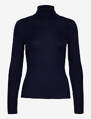 Selected Femme - SLFCOSTA LS KNIT RIB ROLLNECK B - turtlenecks - maritime blue - 0