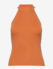 Selected Femme - SLFSOLITA SL KNIT TOP B - knitted tops & t-shirts - caramel - 0