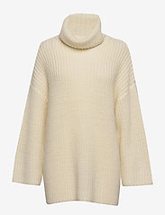 Selected Femme - SLFMILLE LS KNIT ROLLNECK W - poolopaidat - snow white - 0