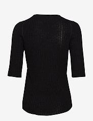 Selected Femme - SLFMARGE 2/4 KNIT RIB DEEP O-NECK B - neuletopit & t-paidat - black - 1