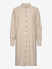 Selected Femme - SLFMALVINA-TONIA LS SHIRT DRESS B - shirt dresses - sandshell - 0