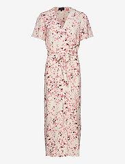 Selected Femme - SLFREBEKKA-DYNELLA 3/4 AOP ANKLE DRESS B - midi dresses - burnt coral - 0