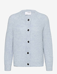 Selected Femme - SLFLULU LS KNIT SHORT CARDIGAN - cardigans - cashmere blue - 0