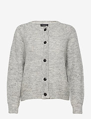 Selected Femme - SLFLULU LS KNIT SHORT CARDIGAN - vesten - light grey melange - 0