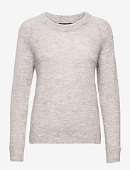 Selected Femme - SLFLULU LS KNIT O-NECK - truien - light grey melange - 0