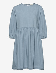 Selected Femme - SLFNOVO 3/4 SHORT DRESS W - denim dresses - light blue - 0