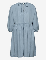 Selected Femme - SLFNOVO 3/4 SHORT DRESS W - denim dresses - light blue - 1