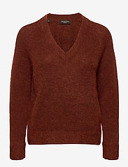 Selected Femme - SLFLULU LS KNIT V-NECK B - tröjor - smoked paprika - 0