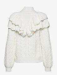Selected Femme - SLFVICTORIA LS KNIT CABLE HIGHNECK - turtlenecks - snow white - 1