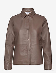 Selected Femme - SLFMOON LS LEATHER SHIRT  W - overshirts - fossil - 0