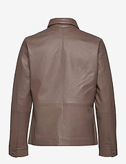 Selected Femme - SLFMOON LS LEATHER SHIRT  W - overshirts - fossil - 1