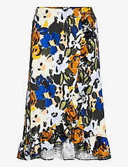 Selected Femme - SLFRONNA MW AOP MIDI SKIRT B - midi skirts - sudan brown - 0