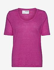 Selected Femme - SLFLINEN SS U-NECK TEE - t-shirts - rose violet - 0