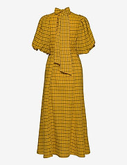 Selected Femme - SLFCHECKIE 2/4 ANKLE DRESS G - sommerkjoler - arrowwood - 1