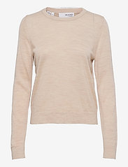 Selected Femme - SLFMAGDA WOOL LS KNIT O-NECK S - pullover - birch - 0