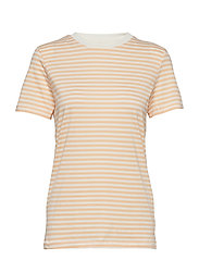 SFMY PERFECT SS TEE - BOX CUT-STRI COLOR - APRICOT ICE