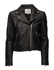 SLFMARLEN LEATHER JACKET NOOS B - BLACK