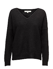 SFLIVANA LS KNIT V-NECK NOOS - BLACK