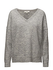 SFLIVANA LS KNIT V-NECK NOOS - LIGHT GREY MELANGE