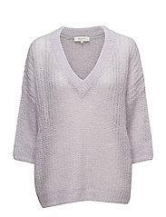 SFJINA 3/4 KNIT V-NECK - EVENING HAZE