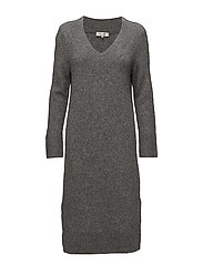 SFJAMIA LS KNIT DEEP V-NECK DRESS - MEDIUM GREY MELANGE