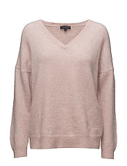 SFLIVANA LS KNIT V-NECK - ADOBE ROSE