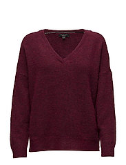 SFLIVANA LS KNIT V-NECK - BEET RED