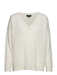SFLIVANA LS KNIT V-NECK - SNOW WHITE