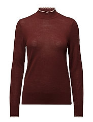 SFCOSTA LS SCALOP HIGHNECK KNIT - SYRAH