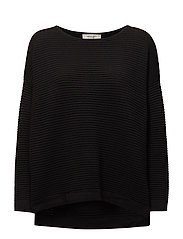 SFLAUA LS KNIT OVERSIZE WIDE O-NECK NOOS - BLACK