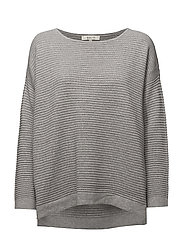 SFLAUA LS KNIT OVERSIZE WIDE O-NECK NOOS - LIGHT GREY MELANGE