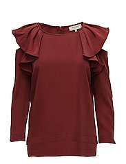 SFKASSIA COLD SHOULDER LS TOP - SYRAH