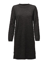 SFEILEEN LS KNIT O-NECK DRESS NOOS - DARK GREY MELANGE