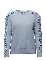 SFREINA LS KNIT FRILL O-NECK - SKY WAY