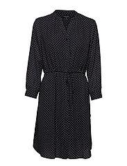 SLFDAMINA 7/8 AOP DRESS NOOS - BLACK