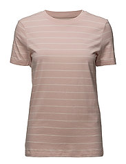 SLFMY PERFECT SS TEE THIN STRIPE NOOS - SEPIA ROSE