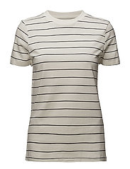SLFMY PERFECT SS TEE THIN STRIPE NOOS - SNOW WHITE