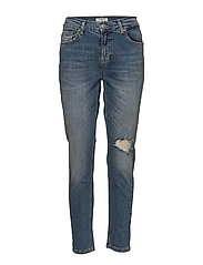 SFROXY MR BOYFRIEND BAFFIN BLUE RIP - MEDIUM BLUE DENIM