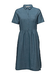SFTAYLOR SS SHIRT DRESS J - MEDIUM BLUE DENIM
