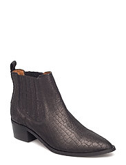 SFELENA NEW CHELSEA CROCO SUEDE BOOT - BLACK
