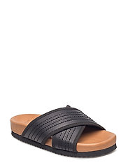 SFMADDIE LEATHER SLIDER - BLACK