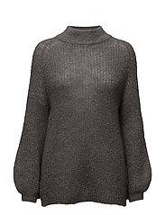 SFMALANKA LS KNIT HIGH NECK - MEDIUM GREY MELANGE