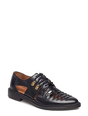 SFMARI BRAIDED LEATHER SHOE - BLACK