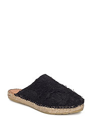 SFELLIE HAIRY ESPADRILLES SLIDER - BLACK
