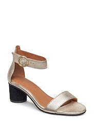SFMERLE SHINY ROUND HEEL SANDAL - GOLD COLOUR