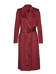 SLFTANA LS COAT MELANGE B - EARTH RED